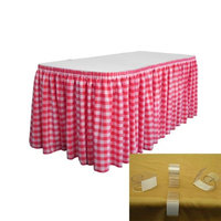 LA Linen SKTcheck14x29-10Lclips-FuchsiaK49 Polyester Gingham Checkered Table Skirt with 10 L-Clips White & Fuchsia - 14 ft. x 29 in.