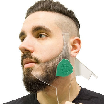 Aberlite Beard Shaper - Hair Lineup Tool w/Barber Pencil - 100% Clear | Many Styles | Long Edges | Anti-Slip - The Ultimate Beard Goatee Shaping Template (US Patent)(Green)-Trimmer Stencil Guide Kit