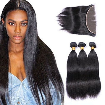 3 Bundles with Frontal Closure13x4 Ear to Ear Lace Extensions Unprocessed Human Hair Brazilian Straight Virgin Hair Weaves Natural Color (18 20 22with16,Natural Color)