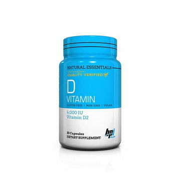 BPI Sports Natural Essentials, Vitamin D, Gluten Free, Vegan & Non GMO, 30 Count