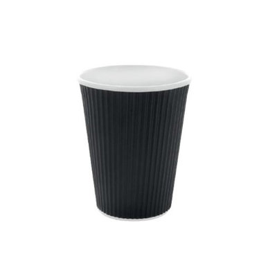 Packnwood 210GCR10N 10 oz Rippled Black Cups 3.5 x 4 in.