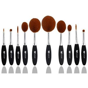 Neverland Beauty 10pcs Make-up Brushes Set Silver & Black Elite Oval Toothbrush Shape Powder Foundation Contour with Case Box