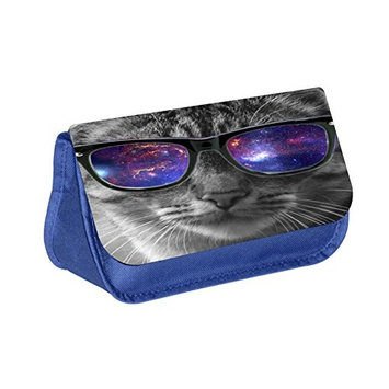 Kitten in Glasses - Blue Medium Sized Makeup Bag with 2 Zippered Pockets