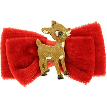 Capelli New York Ladies Rudolph Center Small Velvet Bow Clip Red One Size