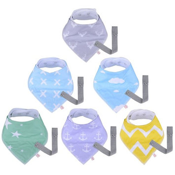 MADENAL Baby Bandana Drool Bibs and Pacifier Clip, Unisex 6-Pack Gift Set for Drooling and Teething, 100% Organic Cotton, Super Absorbent and Soft, Hypoallergenic, Adjustable Nickel-Free Snaps