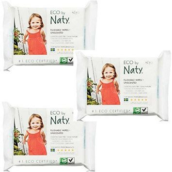 Naty, ECO by Naty Flushable Baby Wipes, Unscented (42 Count, Pack of 3)