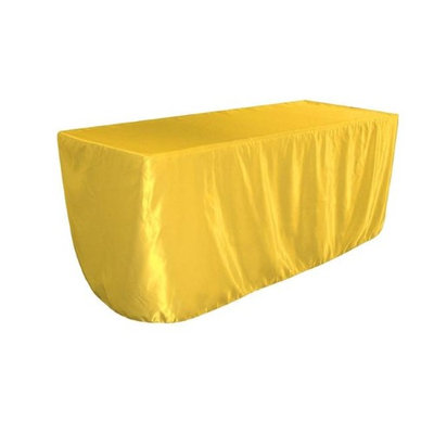 LA Linen TCbridal-fit-96x48x30-YellowB47 Fitted Bridal Satin Tablecloth Yellow - 96 x 48 x 30 in.