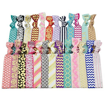 JLIKA Elastic Hair Ties (SET OF 25) Colorful Prints No Crease Ouchless Ponytail Holders, Ribbon Hairties for Women Girls Teens and Kids
