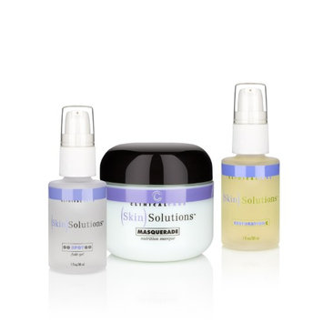 Clinical Care Skin Solutions Restore and Renew Treatment Set - Go Spot Go Natural Fade Gel & Masquerade Skin-Tightening Masque & Restoration Vitamin C Serum