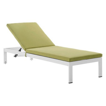 Modway EEI-2660-SLV-PER Shore Silver & Peridot Outdoor Aluminum Patio Chaise with Cushions