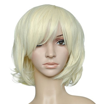 Namecute Short Bob Wig Blonde Synthetic Hair Replacement Wigs for Cosplay Hairpiece + Free Cap