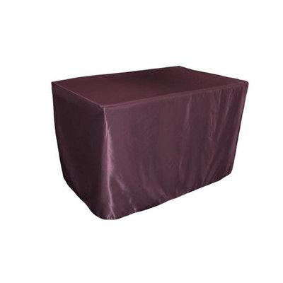 LA Linen TCbridal-fit-48x24x30-EggplantB42 Fitted Bridal Satin Tablecloth Eggplant - 48 x 24 x 30 in.