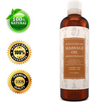 Maple Holistics Muscle Relief Massage Oil, Joint Pain Relief + Aromatherapy, Natural Skin Care Product, 8 Oz