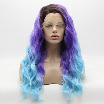 Lace Front Synthetic Wig Curly Long Dark Root Light Purple and Light Blue Mix Ombre Wigs Half Hand Tied Heavy Density Realistic Wigs