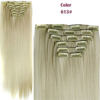 Fashion Women 24 Inches Straight Full Head 6 Separate Pieces Heat Resistance Synthetic Hair Clip in Hair Extensions 140g (613#)
