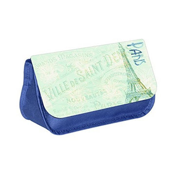 Paris Eiffel Tower - Blue Multi-Purpose Cosmetic Case - Bag - with 2 Zippered Pockets and Nylon Lining