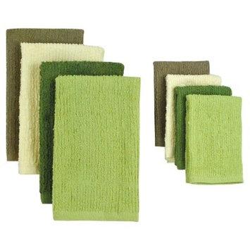 Design Imports Terry Bar Mop Dishtowels and Dishcloths Set (Set of 8), Natural