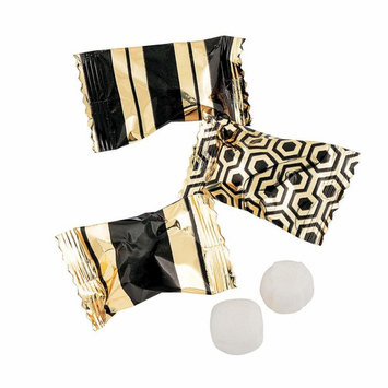 Fun Express - Black & Gold Foil Buttermints 14oz for Wedding - Edibles - Mints - Buttermints - Wedding - 108 Pieces