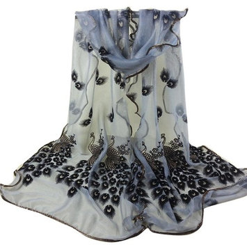 Datework Women Peacock Flower Embroidered Lace Scarf (Gray)
