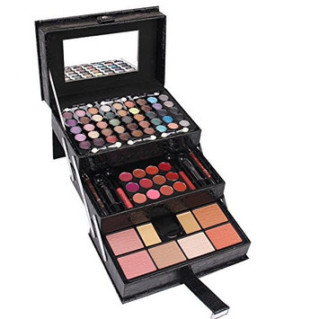 Maùve Professional Leather Train Case with Mirror Makeup Kit (Eyeshadow, Blushes, Powder, Lipstick & More) Holiday Exclusive MU12 (RED)