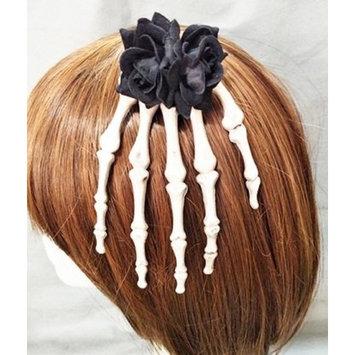 Antique Steampunk Jewelry Skeleton Hand Hair Clips Rose Flower Goth Hair Accessories Crystal Hairpins Handmade Kangsanli