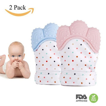 Baby Teething Mittens, Self Soothing Mitt/Pain Relief Gloves/Teether Toy, Food Grade Silicon Stay on Baby's Hand, Unisex for 0-6 months Baby-2 Pack Pink Blue