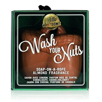 NPW-USA Hello Handsome Wash Your Nuts Soap-On-A-Rope, Nutty Almond