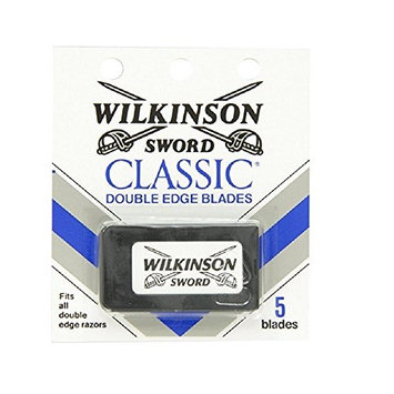 Wilkinson Sword Double Edge single Razor Cartridge, 5 blades + FREE Luxury Luffa Loofah Bath Sponge On A Rope, Color May Vary