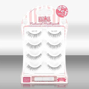 Blinque Premium Multipack (4+1) 100% Human Hair False Eyelashes 4 Pairs & Adhesive Glue, Style #A-110