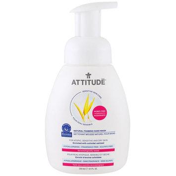 ATTITUDE, Sensitive Skin Care, Natural Foaming Hand Wash, Fragrance Free, 8.4 fl oz (250 ml)
