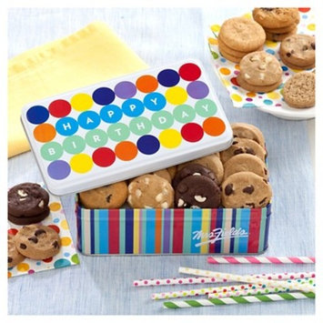 The Mrs. Fields Party On birthday tin contains 28 Nibblers bite sized cookies