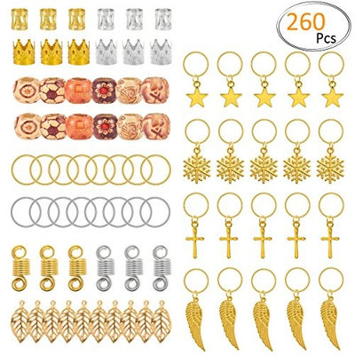 Apipi 260 pieces Dreadlocks Beads Hair Braid Rings Dreadlocks with Natural Painted Wood Beads- 14 Styles Hair Wraps Jewelry Hair Decoration Accessories