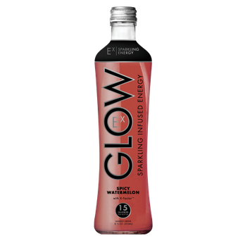 GLOW Beverages Sparkling Infused Energy - 8 Pack 12oz Glass Bottle - Spicy Watermelon
