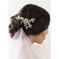 Kercisbeauty Wedding Bridal Bridesmaids Flower Girl Vintage Pearl Flower Combs Headband Bridal Hair Comb Headpiece Long Curly Bun Hair Accessories,Wedding Hair Piece Vintage Hair Comb