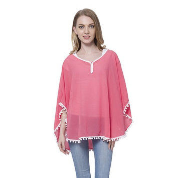 Coral 100% Polyester Swimsuit Cover-ups Poncho For Women Blouse with Pom Pom Trim Free Size