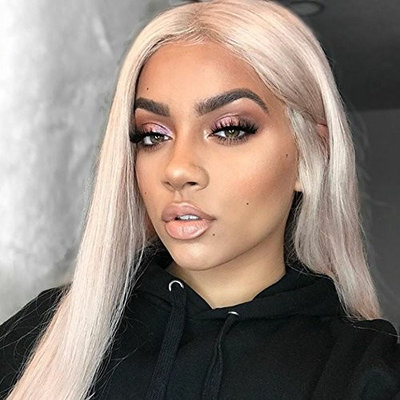 Platinum Blonde 60 Human Hair Full Lace Wigs with Baby hair Bleached Knots Silk Straight Lace Front Blonde Wig Preplucket (16inch, 150% Lace Front Wig)