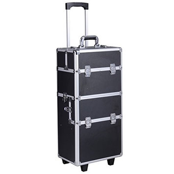 Makeup Cosmetic Case 3 in1 Aluminum Rolling Trolley Black Box Pro Organizer Wheeled Lockable Storage MD Group