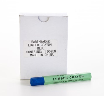 Mutual Industries Lumber Marking Crayons, Water Resistant, 4 1/2' x 1/2', Blue (Pack of 12) (Pack of 2)
