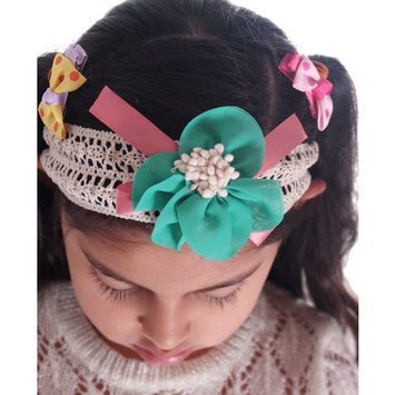 Girls Flower Headband in Knitted Material, Elastic for Comfortable Wear, Green