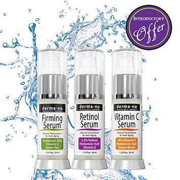 Anti-Aging Serum Trio - Hyaluronic Acid, Retinol Serum & Vitamin C Serum 3 Pack by Derma-nu Skin Remedies