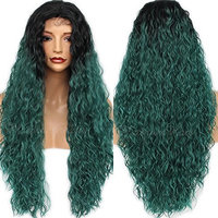 PlatinumHair Green Loose Curly Hair Synthetic Lace Front Wigs Long Green Wavy Hair for Women (Curly)