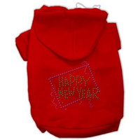 Mirage Pet Products Happy New Year Rhinestone Hoodies, Red, XX-Large/Size 18