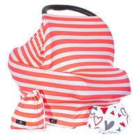 Baby Benjamin Convertible Nursing Cover Up for Breastfeeding – Baby Gift Bundle with Bib + Bag - Neon Coral