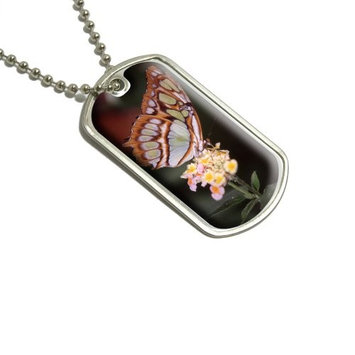 Butterfly on Flower Military Dog Tag Luggage Keychain