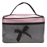 Cosmetic Bag,YJM Square Bow Stripe Cosmetic Bag