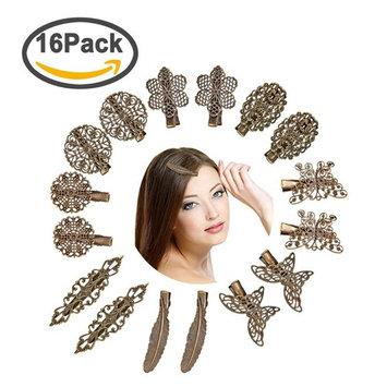 Ondder 16 Pack Vintage Leaf Flower Hair Clip Headwear Hair Pins Girl Lady Hair Accessories, 16 Pieces