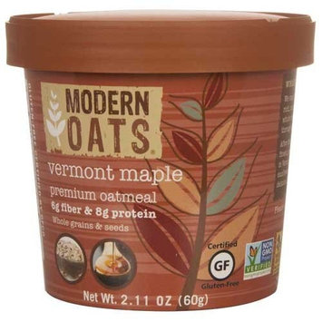 Modern Oats Premium Organic Oatmeal Cups, Vermont Maple, 2.11 Ounce (Pack of 12) Gluten Free, Non-GMO, Whole Grain, Vegan, and Kosher, No Known Allergens, 6g Fiber & 8g Protein Per Cup