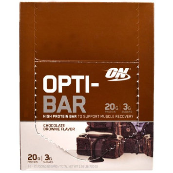 Optimum Nutrition, Opti-Bar High Protein Bar, Chocolate Brownie, 12 Bars, 2.1 oz (60 g) Each(pack of 3)