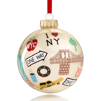 Glass Ball with Multi Icons Pearl Champagne Ornament, Created for Macy's