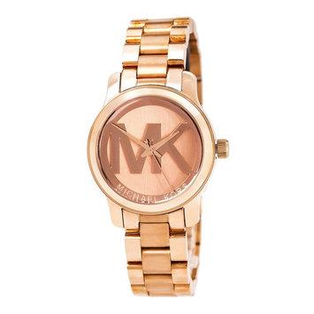 Michael Kors MK3334 Women's Runway Mini MK Logo Rose Gold Dial Rose Gold Steel Bracelet Watch